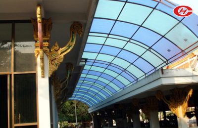 กันสาดส่วนเชื่อมต่ออาคาร หลังคาส่วนเชื่อมต่ออาคาร จินเฮงการช่าง