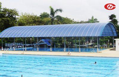 กันสาดสระว่ายน้ำ หลังคาสระว่ายน้ำ จินเฮงการช่าง